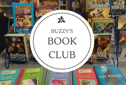 a book display and the words Buzzy's Book Club
